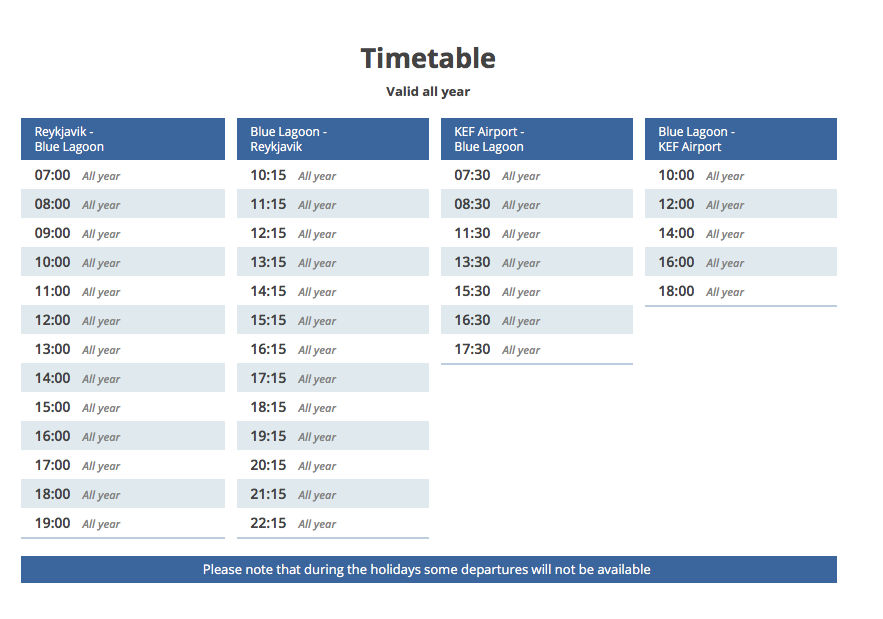 blue lagoon shuttle schedule