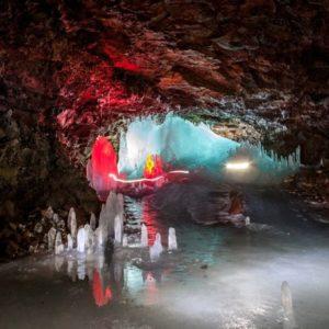 Sagatravel customers enjoying caving in Lofthellir